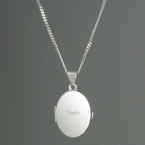 Sterling Silver Oval Locket Name Necklace